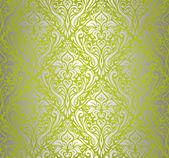 Green & silver vintage wallpaper design — Stock Vector