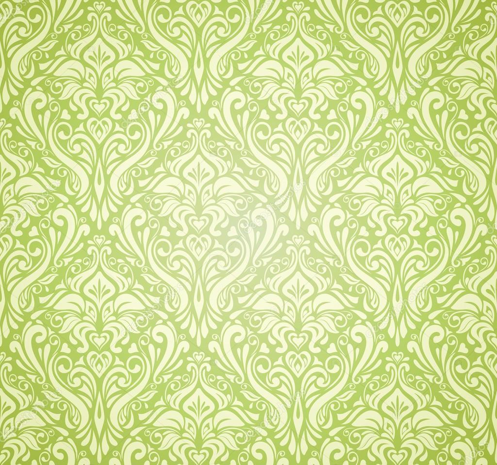 Dise o de papel pintado vintage verde vector de stock - Papel pintado verde ...