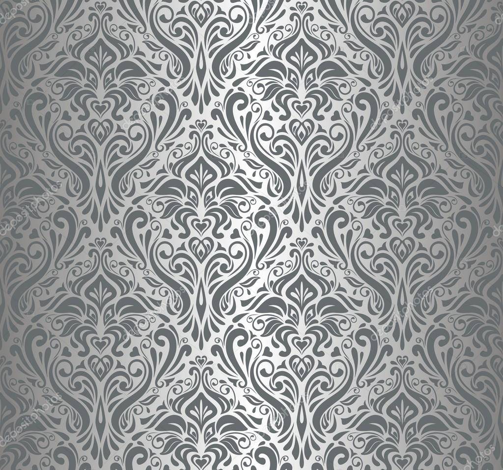 Papel de parede vintage prata luxo vetor de stock for Papel de pared plata