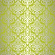 Stock Vector: Green & silver vintage wallpaper design