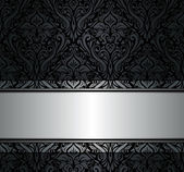 Black and silver vintage wallpaper — Stock Vector