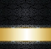 Black and gold vintage wallpaper — Stock Vector