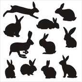 Easter bunny silhouettes — Stock Vector
