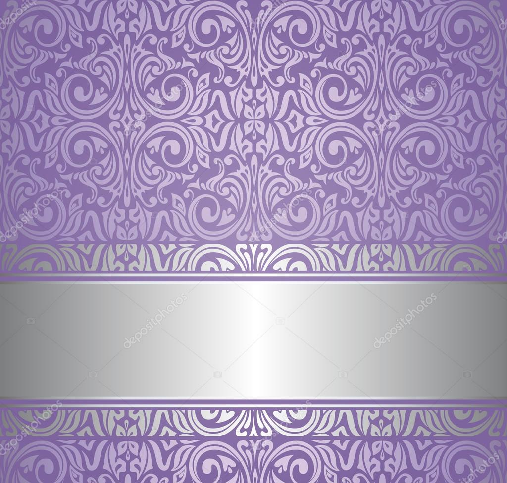 Papel pintado vintage violeta y plata vector de stock for Papel pintado blanco y plata