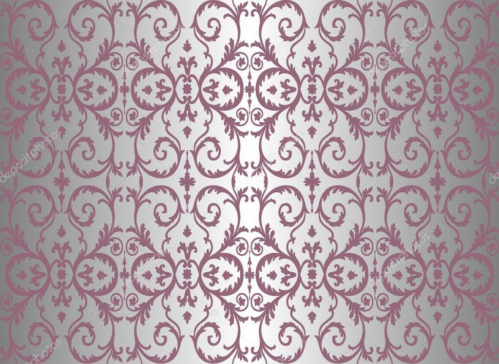 Papel pintado vintage violeta y plata vector de stock - Papel pintado gris y plata ...