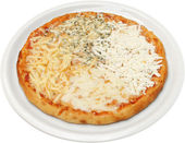 Pizza Quattro formaggi with cheese, feta, melted and cream cheese — Stock Photo