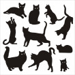 Silhouette of cat — Stock Vector