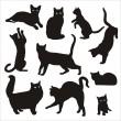 silueta de gato — Vector de stock