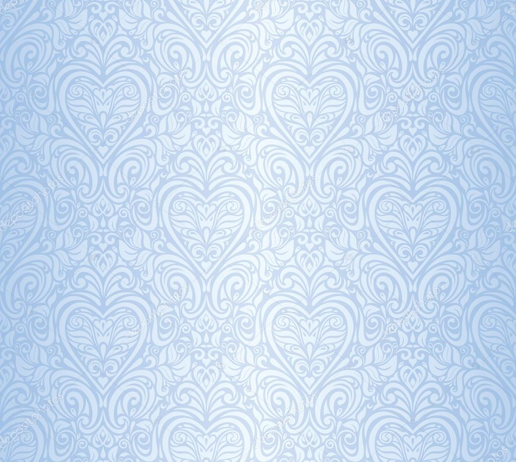 Fundo de papel de parede floral sem costura vintage azul - Papel de pared retro ...
