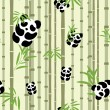 Stock Vector: Seamless pattern with pandas and bamboo