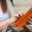 Woman holding tablet — Stock Photo #42897957