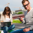 Students studing in park — Stock Photo #42898661