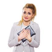 Scared businesswoman — Stock Photo