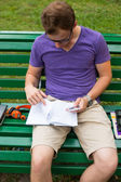 Young student with note book — Stockfoto