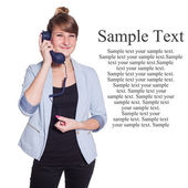 Businesswoman with blue telephone handset — Stock Photo