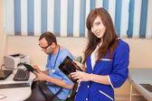 Nurse using tablet in hospital — Stock Photo