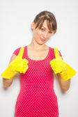 Woman with latex gloves — Stock Photo