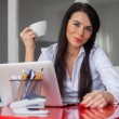 Businesswoman having coffee break — Stock Photo