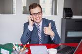 Businessman on mobile phone — 图库照片