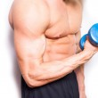 Man with dumbbell — Stock Photo