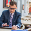 Businessman using tablet in cafe — Stock Photo #45073003