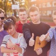 Students showing thumbs up — Stock Photo