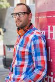 Man with headphones — Stock Photo