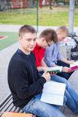 Students at school field — Stockfoto