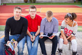 Students at school field — Foto de Stock