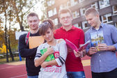 Students at school field — Stock Photo