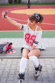 Girl making selfie photo — Stock Photo