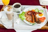 Tray with english breakfast — Stock Photo