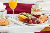 Tray with breakfast food — Stock Photo