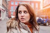 Girl looks towards — Stock Photo