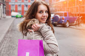 Woman with shopping bag — Stock Photo