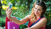 Woman making selfie — Stock Photo