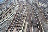 Railroad tracks at the station — Stock Photo