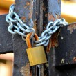 Padlock on the front door — Stock Photo