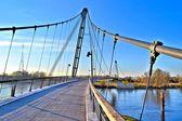 A bridge for pedestrians over the Elbe — Stock Photo