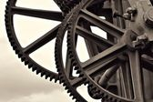 Gears at a historic crane — Stock Photo