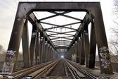 A railway bridge over the Elbe — Stock Photo