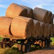 Straw rolls on a trailer - Stock Photo