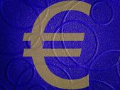 Euro sign on a blue surface wallpaper — Stock Photo