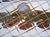 Euro coins in the mirror — Stock Photo