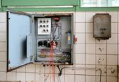 Old fuse box in a disused factory — ストック写真