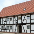 Renovated half-timbered house in a small town — Stock Photo