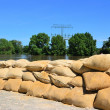 Stock Photo: Filled sandbags as protection against floods