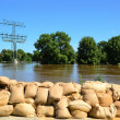 Filled sandbags as protection against floods — Stock Photo