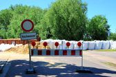 Roadblock at high water — Stock Photo