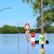 Flooded street during floods in Magdeburg — Stock Photo